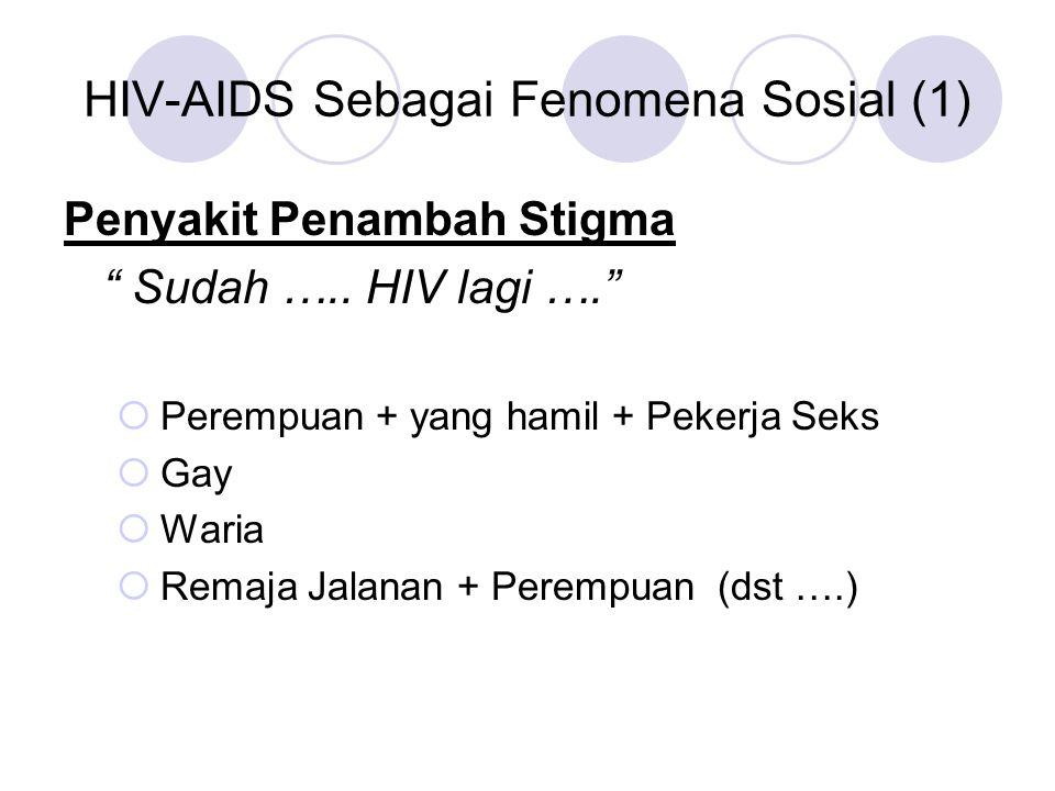 HIV-AIDS Sebagai Fenomena Sosial (2) Sebagai alasan membatasi hak rakyat :  Orang meninggal karena HIV-AIDS tidak mendapatkan dana santunan sosial (Depok— 2007)  Anak Positif HIV tidak boleh bersekolah (Tulungagung, 2007)  ODHA harus dikarantina (Makassar, 2007)