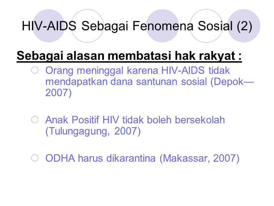 HIV-AIDS Sebagai Fenomena Sosial (3) Pemutus Rasa Solidaritas Sosial 4HIV hanya terjadi pada orang lain 4Hubungan seks dengan orang terdekat adalah aman 4Yang penting bukan saya
