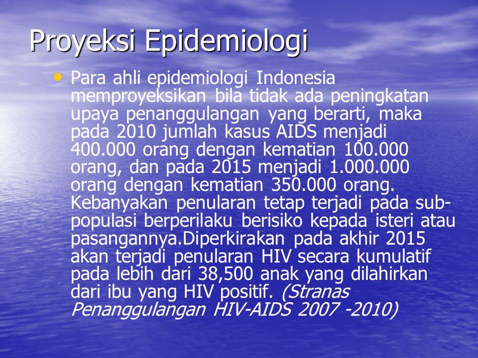 Proyeksi Epidemiologi Para ahli epidemiologi Indonesia memproyeksikan bila tidak ada peningkatan upaya penanggulangan yang berarti, maka pada 2010 jum