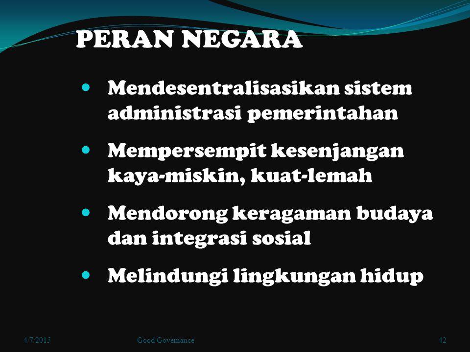 PERAN NEGARA Mendesentralisasikan sistem administrasi pemerintahan Mempersempit kesenjangan kaya-miskin, kuat-lemah Mendorong keragaman budaya dan int