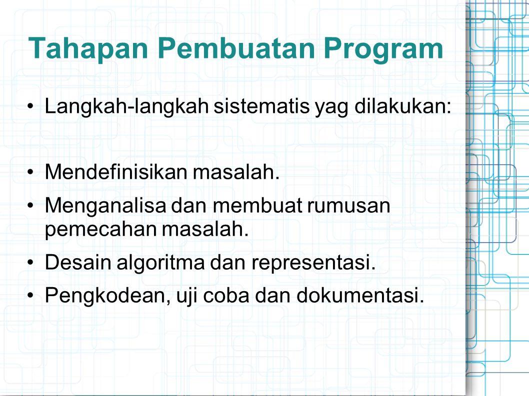 Tahapan Pembuatan Program Langkah-langkah sistematis yag dilakukan: Mendefinisikan masalah. Menganalisa dan membuat rumusan pemecahan masalah. Desain