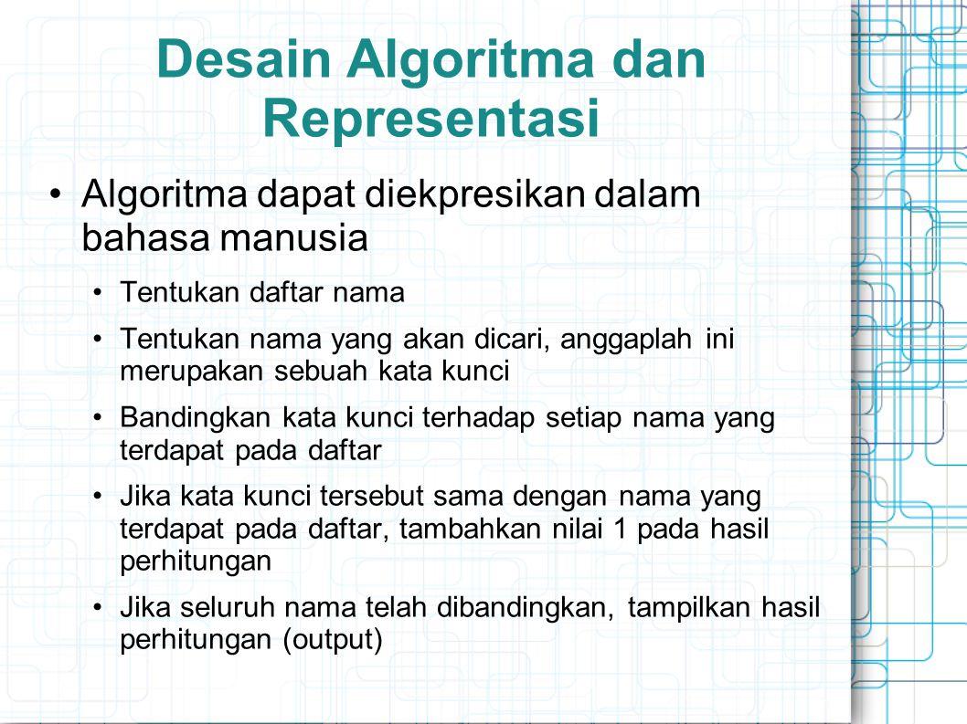 Desain Algoritma dan Representasi Algoritma dapat diekpresikan dalam bahasa manusia Tentukan daftar nama Tentukan nama yang akan dicari, anggaplah ini