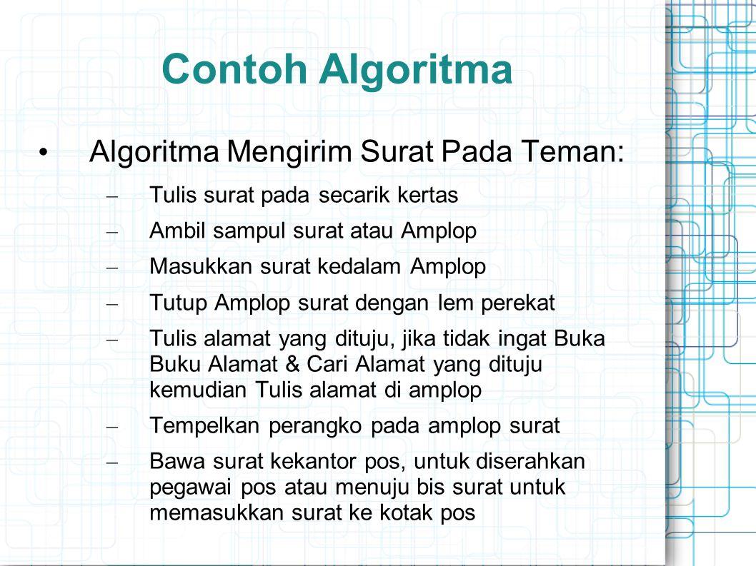 Contoh Algoritma Algoritma Mengirim Surat Pada Teman: – Tulis surat pada secarik kertas – Ambil sampul surat atau Amplop – Masukkan surat kedalam Ampl