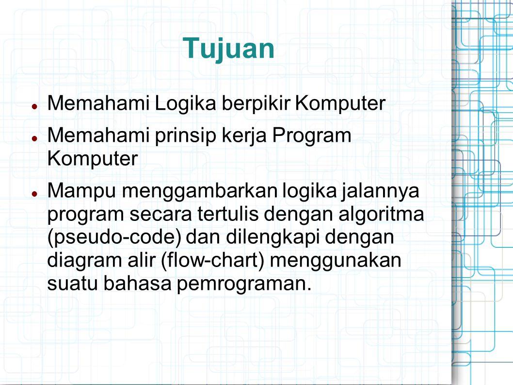 Tujuan Memahami Logika berpikir Komputer Memahami prinsip kerja Program Komputer Mampu menggambarkan logika jalannya program secara tertulis dengan al