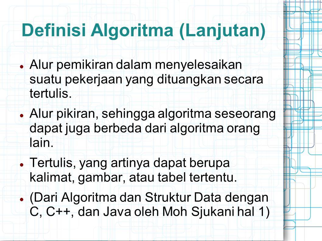 Definisi Algoritma (Lanjutan) Alur pemikiran dalam menyelesaikan suatu pekerjaan yang dituangkan secara tertulis. Alur pikiran, sehingga algoritma ses