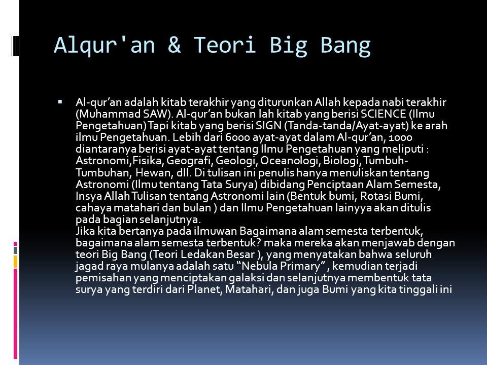 Alqur'an & Teori Big Bang  Al-qur'an adalah kitab terakhir yang diturunkan Allah kepada nabi terakhir (Muhammad SAW). Al-qur'an bukan lah kitab yang