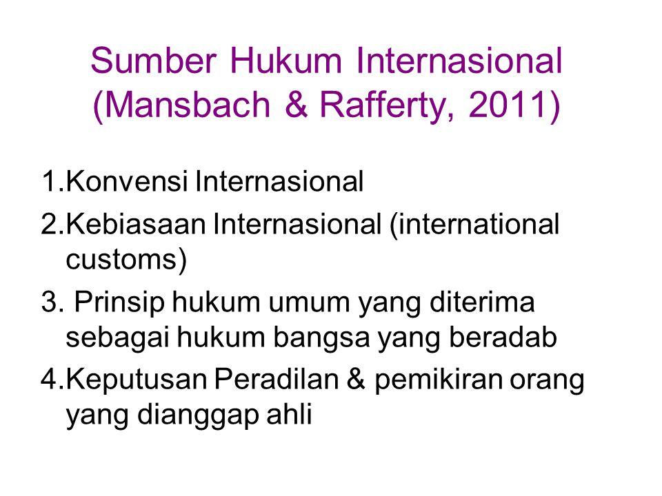Sumber Hukum Internasional (Mansbach & Rafferty, 2011) 1.Konvensi Internasional 2.Kebiasaan Internasional (international customs) 3. Prinsip hukum umu