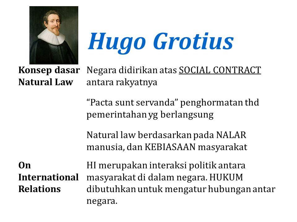 """Hugo Grotius Konsep dasar Natural Law Negara didirikan atas SOCIAL CONTRACT antara rakyatnya """"Pacta sunt servanda"""" penghormatan thd pemerintahan yg be"""