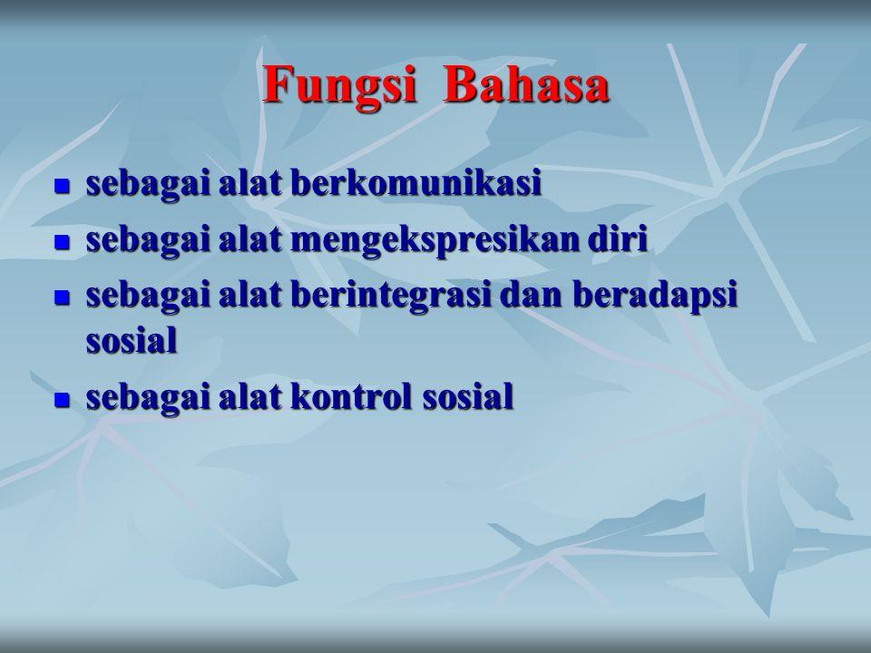 FUNGSI BAHASA Fungsi ekspresi Fungsi ekspresi Fungsi Informasi Fungsi Informasi Fungsi eksplorasi Fungsi eksplorasi Fungsi fersuasi Fungsi fersuasi Fungsi entertainmen Fungsi entertainmen (Michel, 1967)