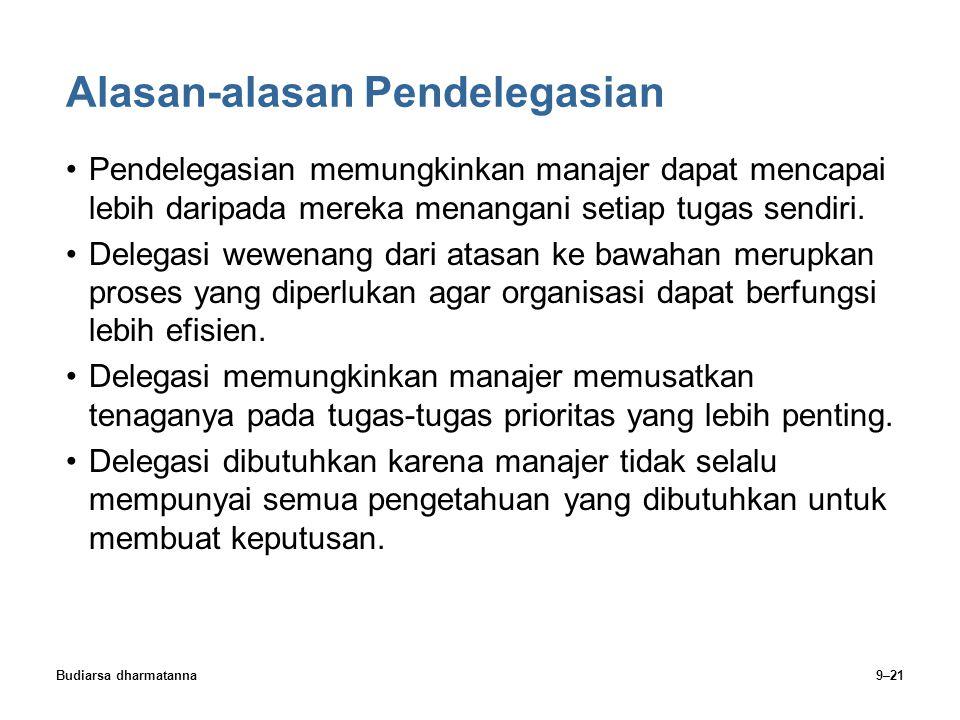 Budiarsa dharmatanna9–21 Alasan-alasan Pendelegasian Pendelegasian memungkinkan manajer dapat mencapai lebih daripada mereka menangani setiap tugas se