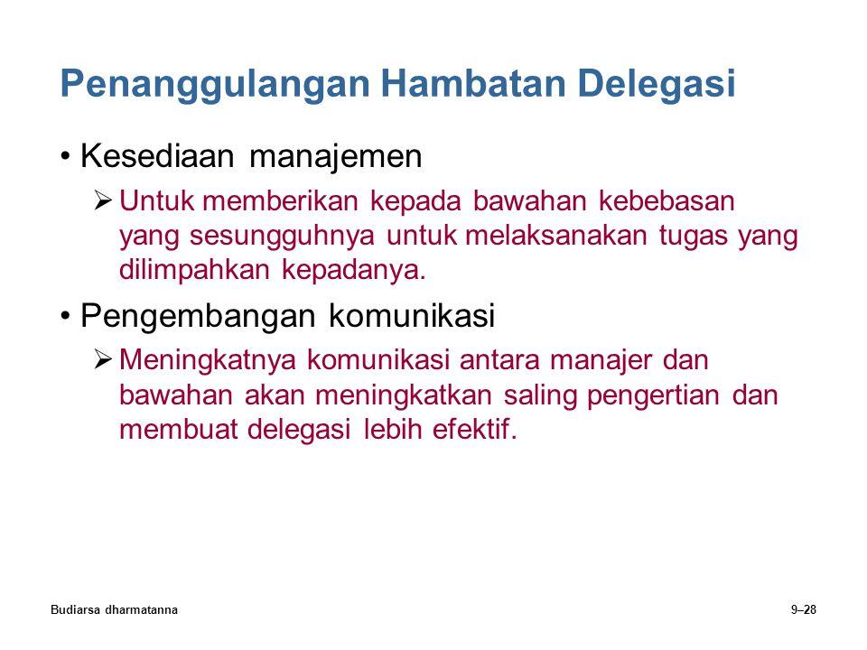 Budiarsa dharmatanna9–28 Penanggulangan Hambatan Delegasi Kesediaan manajemen  Untuk memberikan kepada bawahan kebebasan yang sesungguhnya untuk mela