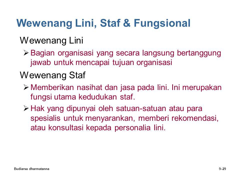 Budiarsa dharmatanna9–29 Wewenang Lini, Staf & Fungsional Wewenang Lini  Bagian organisasi yang secara langsung bertanggung jawab untuk mencapai tuju