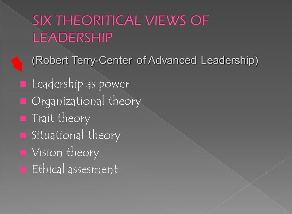 Leadership as power Organizational theory Trait theory Situational theory Vision theory Ethical assesment (Robert Terry-Center of Advanced Leadership)