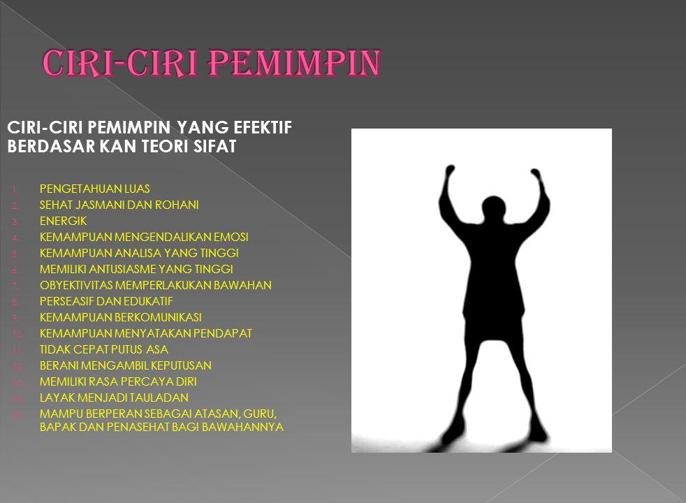 CIRI-CIRI PEMIMPIN YANG EFEKTIF BERDASAR KAN TEORI SIFAT 1.