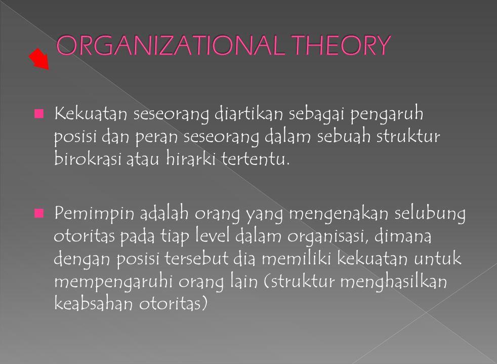 Kekuatan seseorang diartikan sebagai pengaruh posisi dan peran seseorang dalam sebuah struktur birokrasi atau hirarki tertentu.