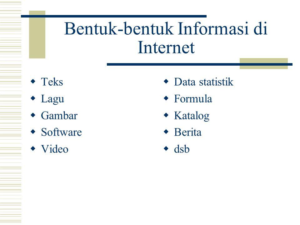 Bentuk-bentuk File di Internet  Text: doc, txt, rtf, pdf  Images: jpg, gif, bmp, tif  Video: avi, mpg, mov, wmv  Audio: mp3, mid, wav, snd  Web: html, php, jsp  Program: exe, com, msi