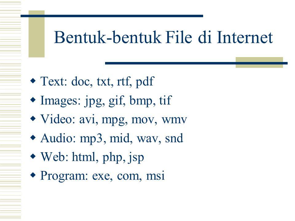 Bentuk-bentuk File di Internet  Text: doc, txt, rtf, pdf  Images: jpg, gif, bmp, tif  Video: avi, mpg, mov, wmv  Audio: mp3, mid, wav, snd  Web: