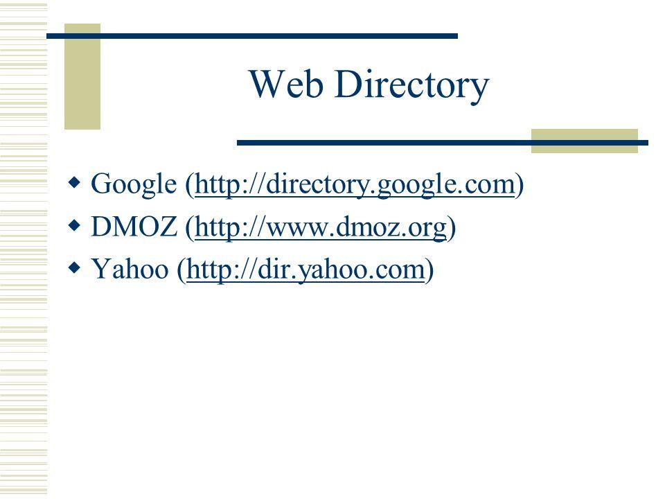 Web Directory  Google (http://directory.google.com)http://directory.google.com  DMOZ (http://www.dmoz.org)http://www.dmoz.org  Yahoo (http://dir.ya