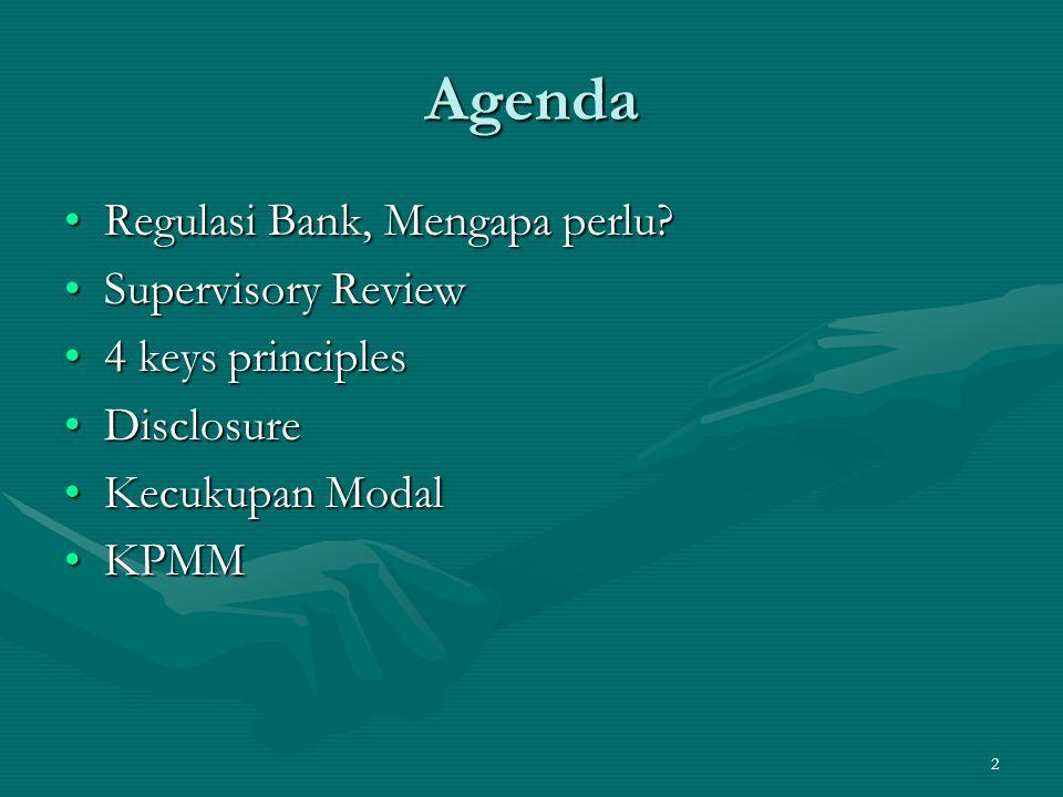 13 4 keys principles Prinsip 2 Otoritas pengawas harus mereview dan mengevaluasi pengukuran kecukupan modal secara internal dan strategi bank, termasuk kemampuan dalam memantau dan memastikan kepatuhan terhadap rasio modal yang ditetapkan.Otoritas pengawas harus mereview dan mengevaluasi pengukuran kecukupan modal secara internal dan strategi bank, termasuk kemampuan dalam memantau dan memastikan kepatuhan terhadap rasio modal yang ditetapkan.