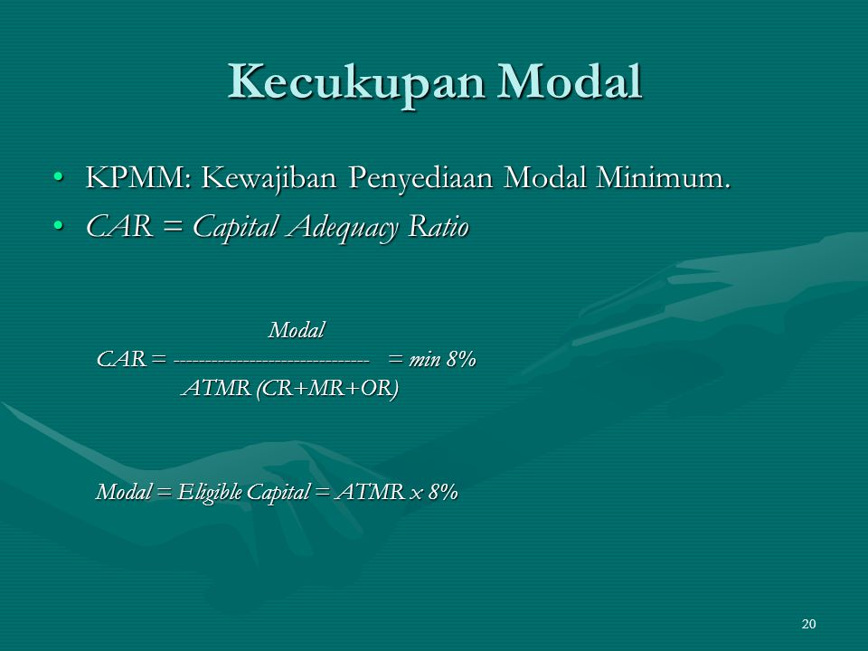 20 Kecukupan Modal KPMM: Kewajiban Penyediaan Modal Minimum.KPMM: Kewajiban Penyediaan Modal Minimum. CAR = Capital Adequacy RatioCAR = Capital Adequa