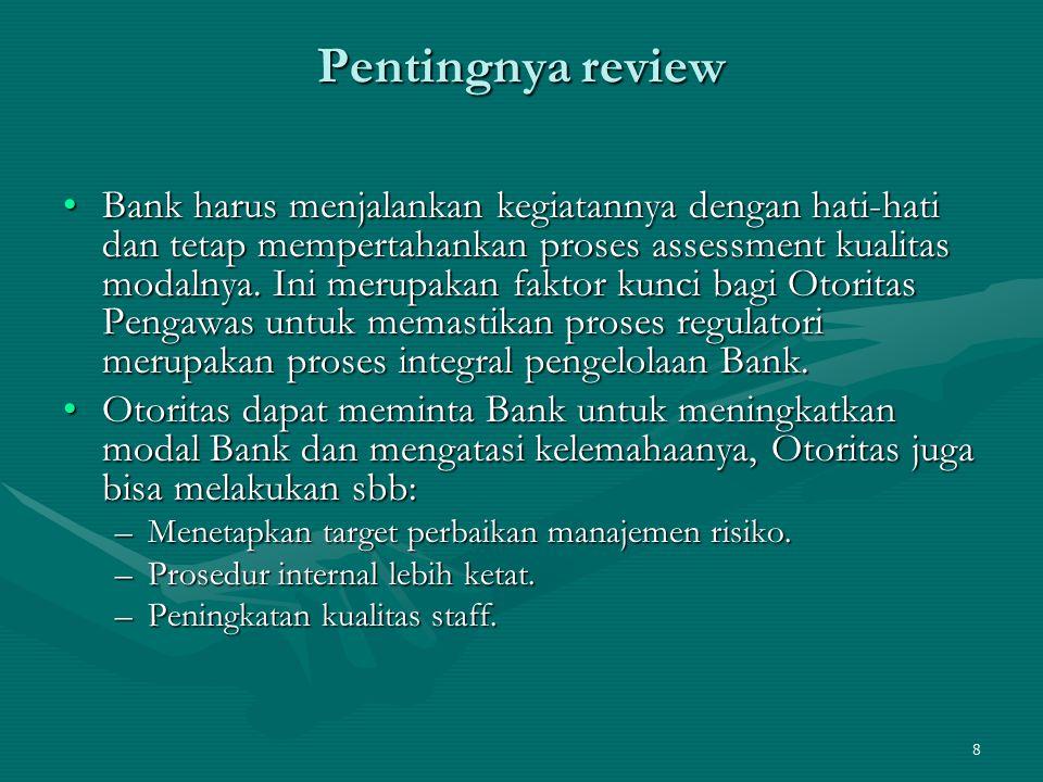 9 Pentingnya review Dalam kondisi ekstrim Otoritas Pengawas dapat membatasi aktivitas bisnis Bank sampai permasalahan tersebut diselesaikan/dikendalikan.Dalam kondisi ekstrim Otoritas Pengawas dapat membatasi aktivitas bisnis Bank sampai permasalahan tersebut diselesaikan/dikendalikan.