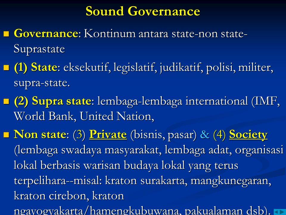 Sound Governance Governance: Kontinum antara state-non state- Suprastate Governance: Kontinum antara state-non state- Suprastate (1) State: eksekutif,