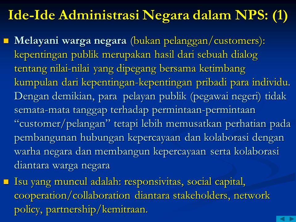 Ide-Ide Administrasi Negara dalam NPS: (1) Melayani warga negara (bukan pelanggan/customers): kepentingan publik merupakan hasil dari sebuah dialog te
