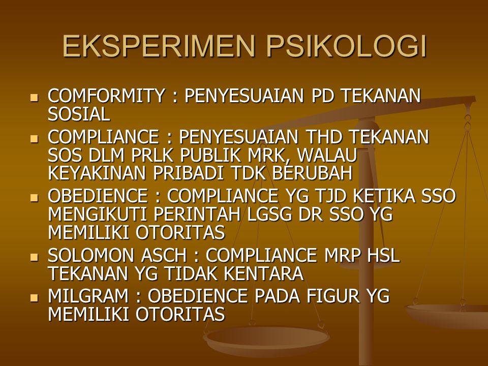 EKSPERIMEN PSIKOLOGI COMFORMITY : PENYESUAIAN PD TEKANAN SOSIAL COMFORMITY : PENYESUAIAN PD TEKANAN SOSIAL COMPLIANCE : PENYESUAIAN THD TEKANAN SOS DL