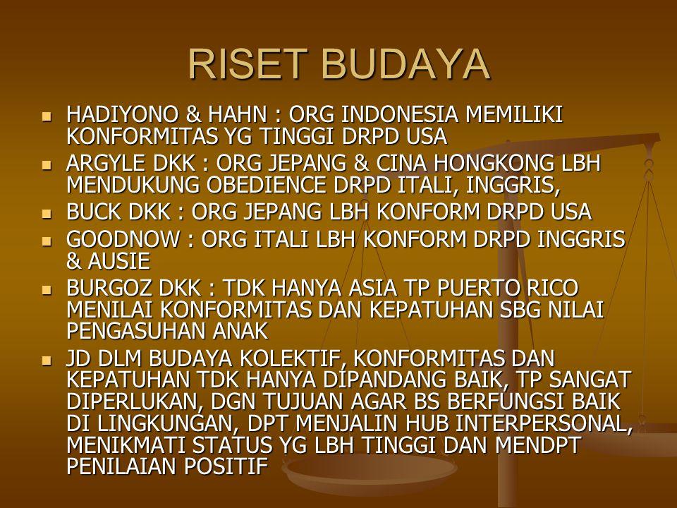 RISET BUDAYA HADIYONO & HAHN : ORG INDONESIA MEMILIKI KONFORMITAS YG TINGGI DRPD USA HADIYONO & HAHN : ORG INDONESIA MEMILIKI KONFORMITAS YG TINGGI DR