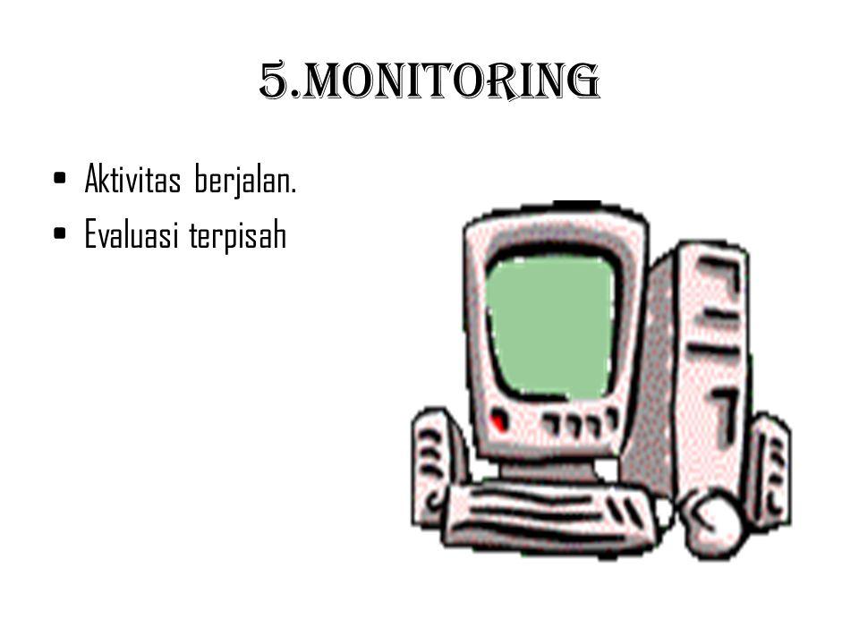 5.Monitoring Aktivitas berjalan. Evaluasi terpisah