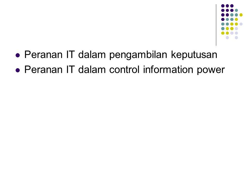 Peranan IT dalam pengambilan keputusan Peranan IT dalam control information power