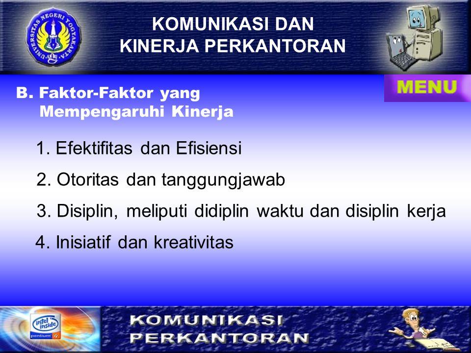 KOMUNIKASI DAN KINERJA PERKANTORAN A. Hubungan Komunikasi dengan Kinerja Perkantoran KOMUNIKASI KOMUNIKASI Kinerja Perkantoran : Tugas Fungsional Tuga