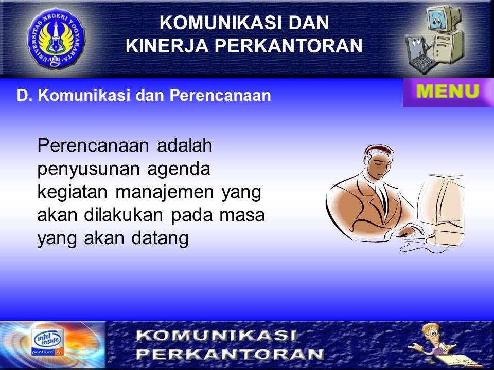 KOMUNIKASI DAN KINERJA PERKANTORAN KOMUNIKASI KOMUNIKASI KONTROL KONTROL KINERJA PERKANTORAN KINERJA PERKANTORAN Hubungan antara komunikasi, kontrol,