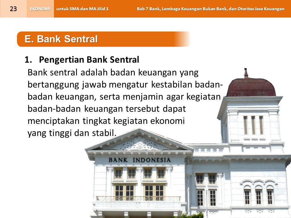 untuk SMA dan MA Jilid 1 Bab 7 Bank, Lembaga Keuangan Bukan Bank, dan Otoritas Jasa Keuangan EKONOMI 23 E.