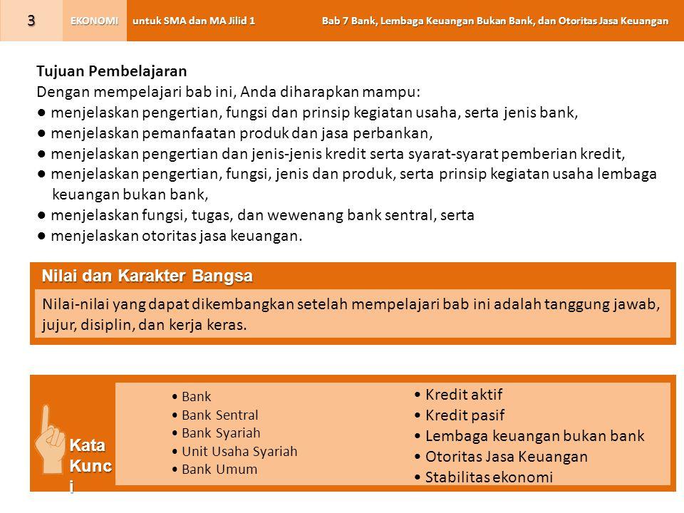 untuk SMA dan MA Jilid 1 Bab 7 Bank, Lembaga Keuangan Bukan Bank, dan Otoritas Jasa Keuangan EKONOMI 4 A.