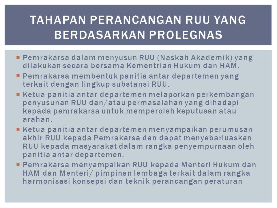  Pemrakarsa dalam menyusun RUU (Naskah Akademik) yang dilakukan secara bersama Kementrian Hukum dan HAM.  Pemrakarsa membentuk panitia antar departe