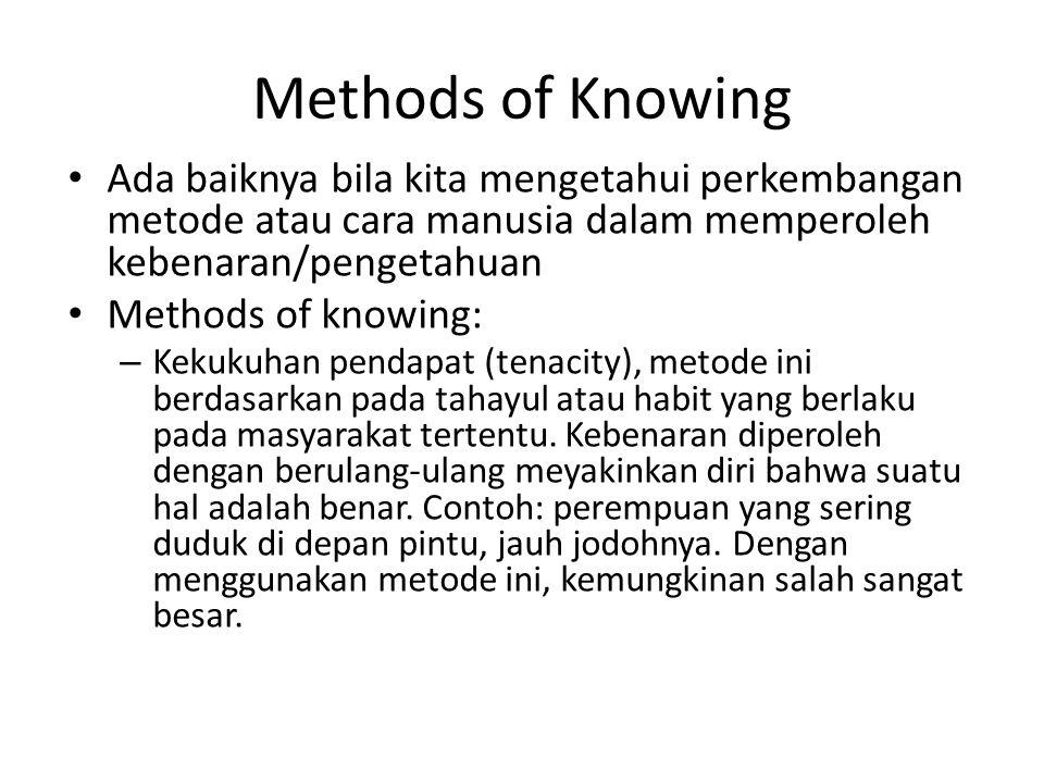 Methods of Knowing Ada baiknya bila kita mengetahui perkembangan metode atau cara manusia dalam memperoleh kebenaran/pengetahuan Methods of knowing: –