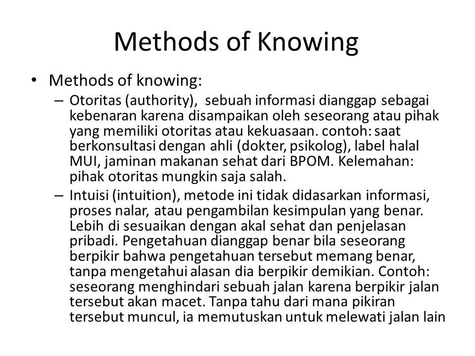 Methods of Knowing Methods of knowing: – Otoritas (authority), sebuah informasi dianggap sebagai kebenaran karena disampaikan oleh seseorang atau piha