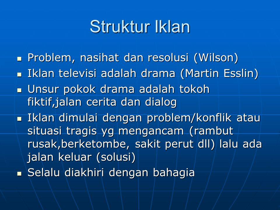 Struktur Iklan Problem, nasihat dan resolusi (Wilson) Problem, nasihat dan resolusi (Wilson) Iklan televisi adalah drama (Martin Esslin) Iklan televis