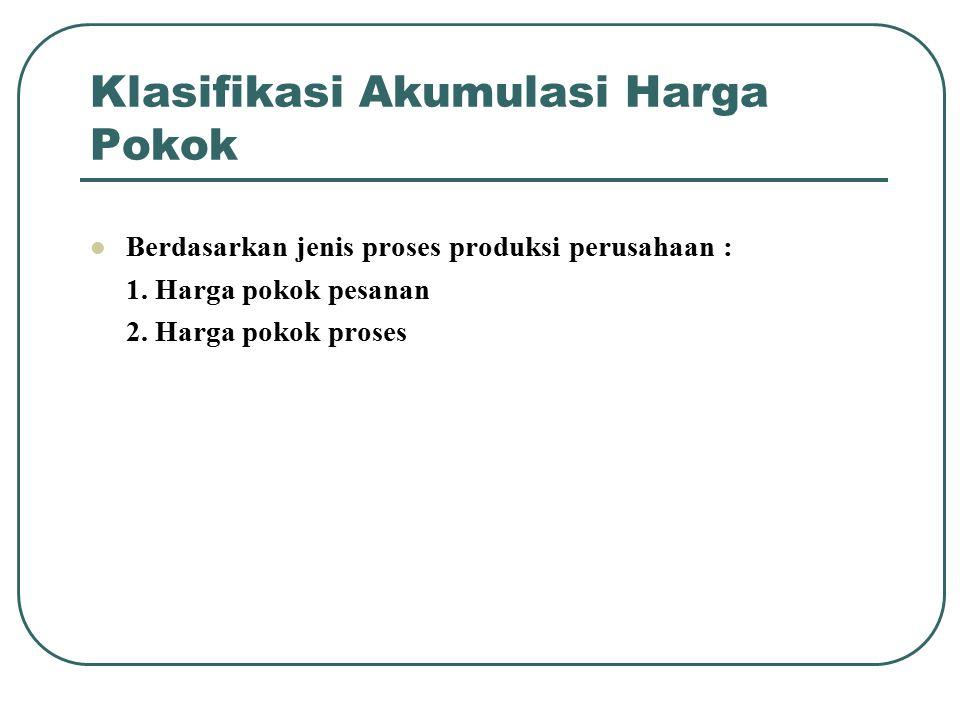 Klasifikasi Akumulasi Harga Pokok Berdasarkan jenis proses produksi perusahaan : 1. Harga pokok pesanan 2. Harga pokok proses