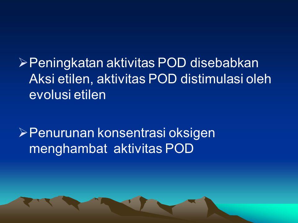  Peningkatan aktivitas POD disebabkan Aksi etilen, aktivitas POD distimulasi oleh evolusi etilen  Penurunan konsentrasi oksigen menghambat aktivitas POD