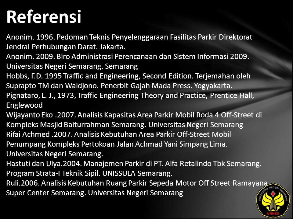 Referensi Anonim. 1996. Pedoman Teknis Penyelenggaraan Fasilitas Parkir Direktorat Jendral Perhubungan Darat. Jakarta. Anonim. 2009. Biro Administrasi