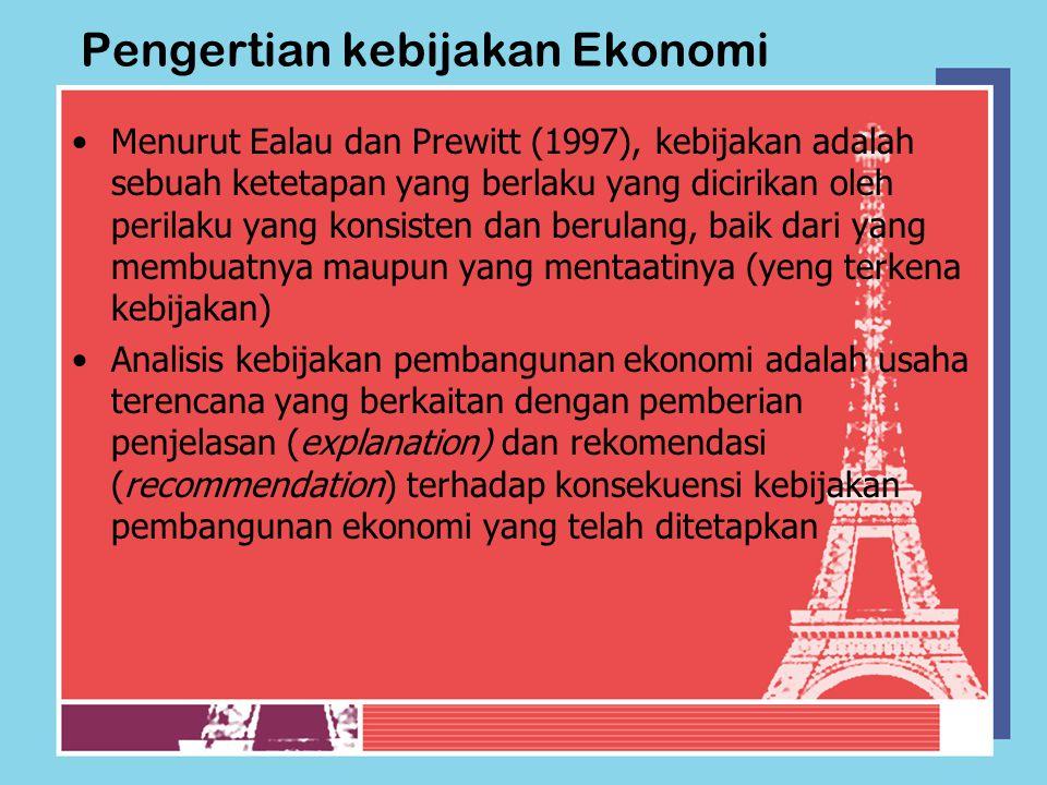 Pengertian kebijakan Ekonomi Menurut Ealau dan Prewitt (1997), kebijakan adalah sebuah ketetapan yang berlaku yang dicirikan oleh perilaku yang konsis