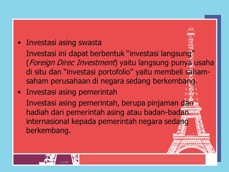 """Investasi asing swasta Investasi ini dapat berbentuk """"investasi langsung"""" (Foreign Direc Investment) yaitu langsung punya usaha di situ dan """"investasi"""