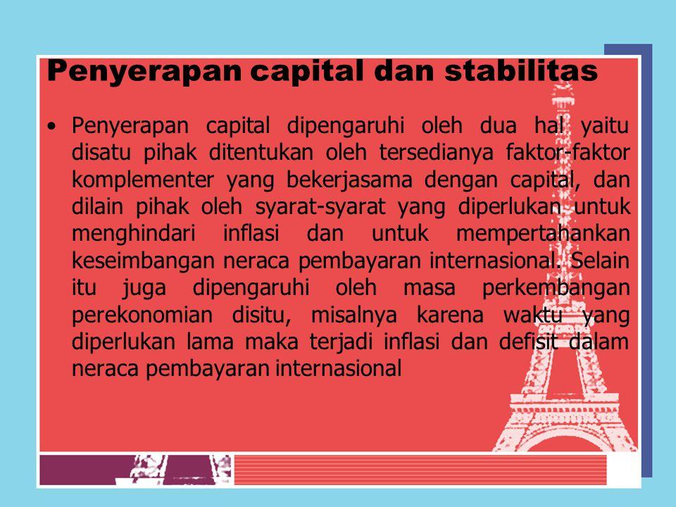 Penyerapan capital dan stabilitas Penyerapan capital dipengaruhi oleh dua hal yaitu disatu pihak ditentukan oleh tersedianya faktor-faktor komplemente