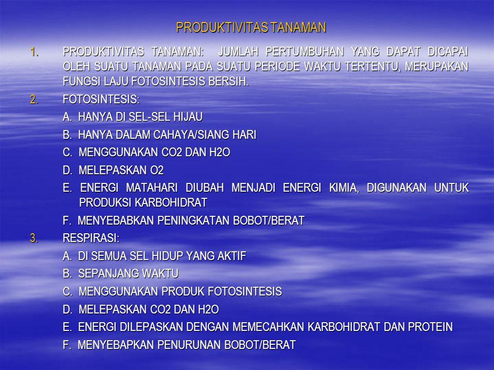 PRODUKTIVITAS TANAMAN 1.PRODUKTIVITAS TANAMAN: JUMLAH PERTUMBUHAN YANG DAPAT DICAPAI OLEH SUATU TANAMAN PADA SUATU PERIODE WAKTU TERTENTU, MERUPAKAN F