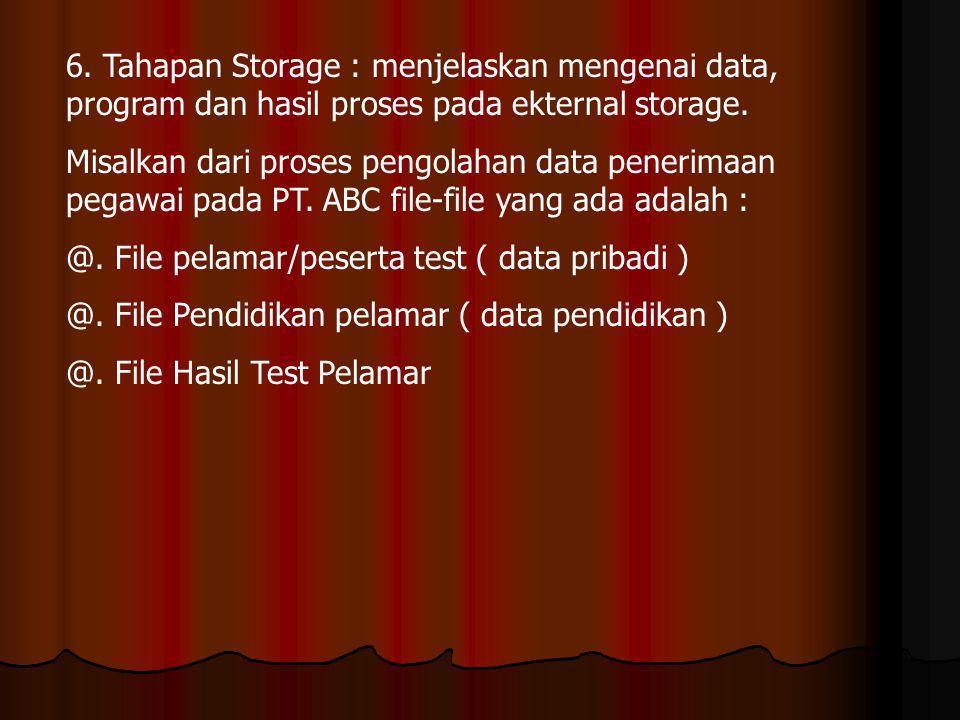 6. Tahapan Storage : menjelaskan mengenai data, program dan hasil proses pada ekternal storage. Misalkan dari proses pengolahan data penerimaan pegawa