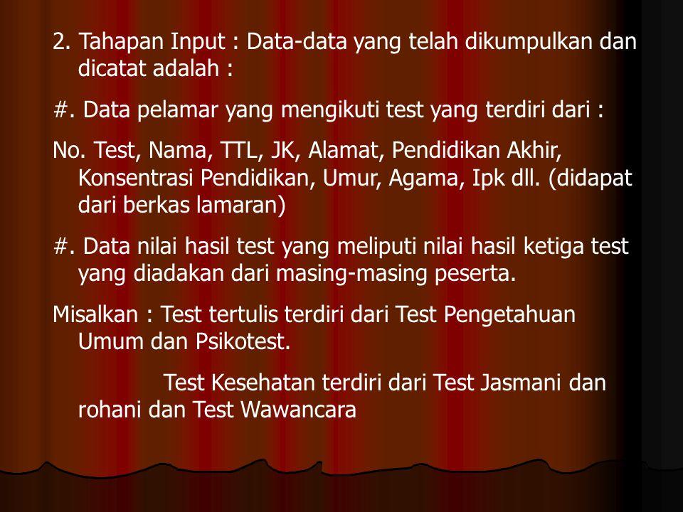 2. Tahapan Input : Data-data yang telah dikumpulkan dan dicatat adalah : #. Data pelamar yang mengikuti test yang terdiri dari : No. Test, Nama, TTL,