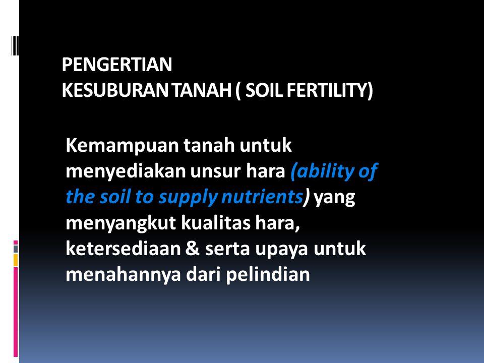 PENGERTIAN KESUBURAN TANAH ( SOIL FERTILITY) Kemampuan tanah untuk menyediakan unsur hara (ability of the soil to supply nutrients) yang menyangkut ku
