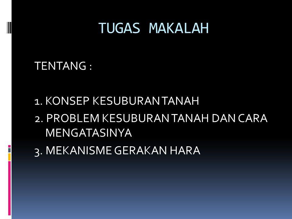 TUGAS MAKALAH TENTANG : 1. KONSEP KESUBURAN TANAH 2. PROBLEM KESUBURAN TANAH DAN CARA MENGATASINYA 3. MEKANISME GERAKAN HARA